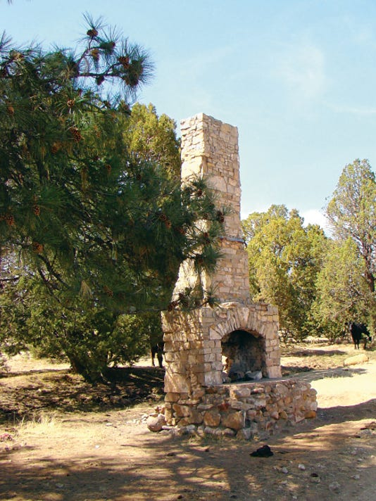 Camp Capitan in the Capitan mountains consisted of a large log dining room, six barracks, an infirmary and a cottage built around a large patio. All that remains of this site in Baca Canyon is this fireplace.