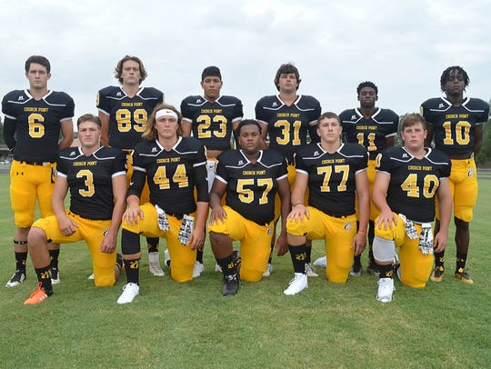 Church Point's defense and special teams include (front,