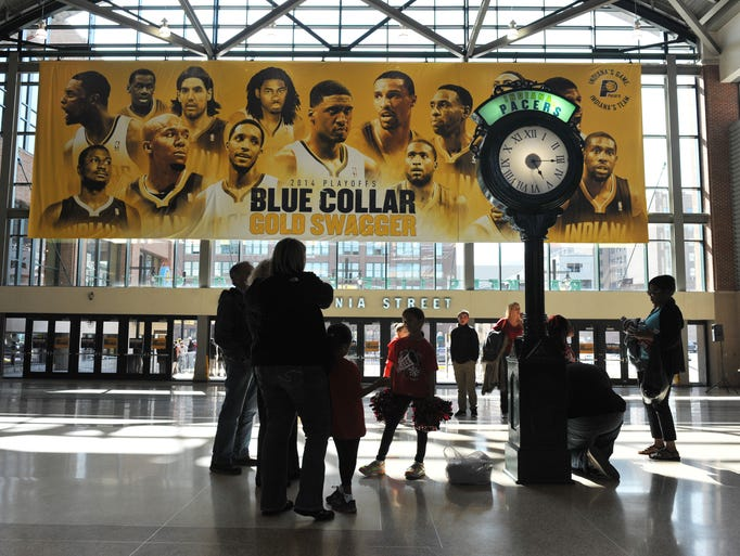 Fans wait in the lobby before the game as the Indiana Pacers hosted the Atlanta Hawks in Game 2 of the Eastern Conference First Round at Bankers Life Fieldhouse Tuesday April 22, 2014.