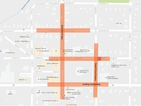 A production company has asked that the downtown Mason streets, shown in color, be closed for one day for the filming of scene for an upcoming movie.