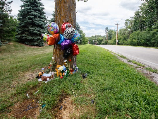 Stuffed animals, balloons and other items create a roadside memorial for 3-year-old Nathaniel Medina at Rocky Point Road and Prospect Avenue in Pewaukee as seen on Thursday, July 19, 2018.