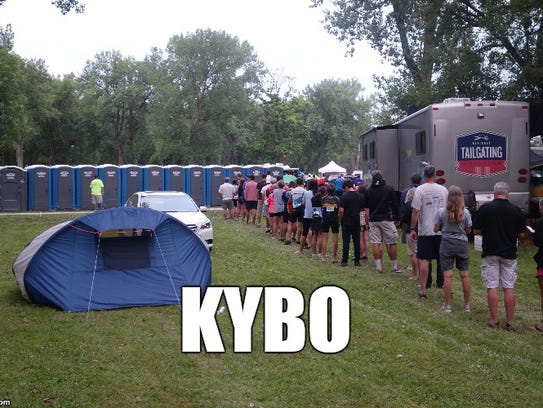 KYBO, a term for the portable toilets lined up.