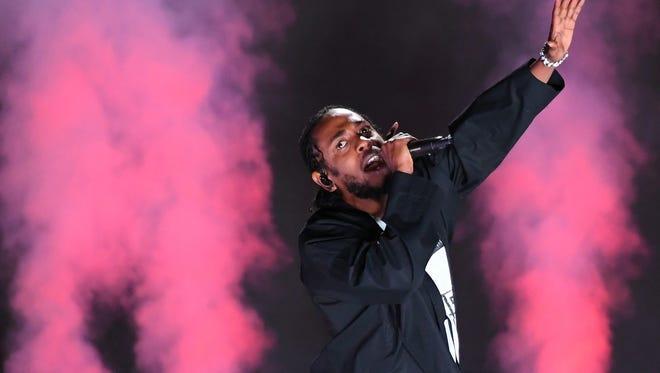 Jan 28, 2018; New York, NY, USA; Kendrick Lamar performs during the 60th Annual Grammy Awards at Madison Square Garden. Mandatory Credit: Robert Deutsch-USA TODAY ORIG FILE ID:  20180128_ajw_usa_490.jpg