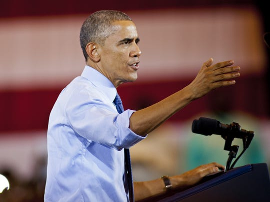 President Obama speaks at a campaign rally in Milwaukee