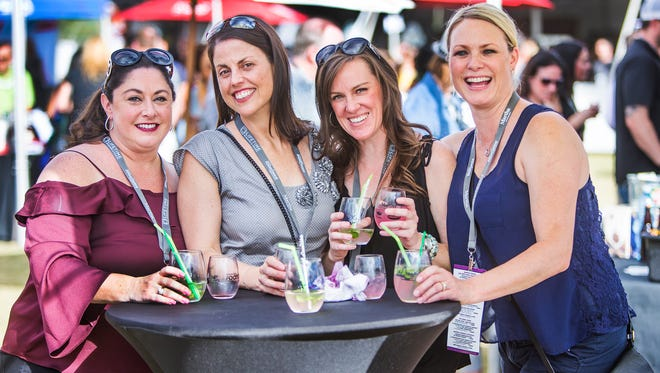 Friends from San Francisco, from left to right; Cheryl Nowlan, Susan Barker, Stacy Rago and Elizabeth Johnson, enjoy the azcentral Food and Wine Experience featuring Martha Stewart at Salt River Fields at Talking Stick, Saturday, November 4, 2017.