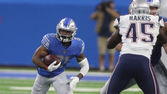 Ameer Abdullah carries the football against the Patriots on Aug. 25, 2017 at Ford Field.
