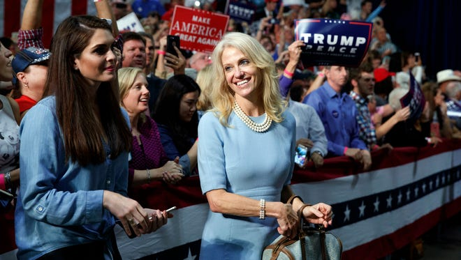 Kellyanne Conway, campaign manager for Republican presidential candidate Donald Trump, during a campaign rally, Friday, Oct. 14, 2016, in Charlotte, N.C.