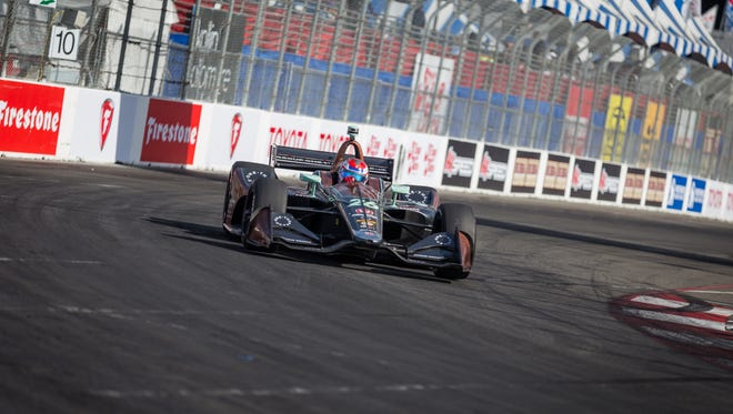 Zach Veach sets up for Turn 10 during the Toyota Grand Prix of Long Beach on April 15, 2018. Photo by: Stephen King for Verizon IndyCar Series