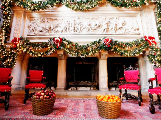 The Vanderbilts would have enjoyed their Thanksgiving dinner in front of the fireplace in the dining room at the Biltmore in 1904.