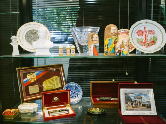 Mementos from various trips to Russia decorate the office of G. Kline Preston IV.