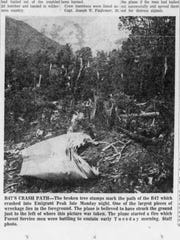 """The front page of the July 25, 1962 Great Falls Tribune had the headline """"Apparently all four B-47 crewmen died in crash on state mountain"""" and this photo of the wreckage."""