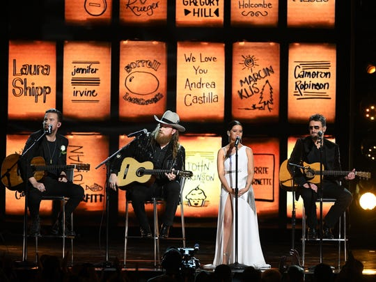 Recording artists T.J. Osborne, John Osborne, Maren Morris, and Eric Church perform onstage during the 60th Annual GRAMMY Awards at Madison Square Garden on January 28, 2018 in New York City.