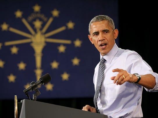 President Barack Obama addresses the crowd during his