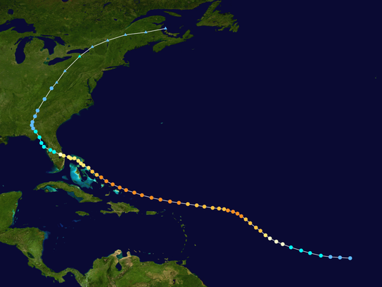 Hurricane Frances followed this path, which led it
