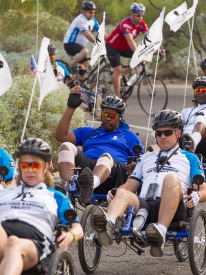 Former Army soldier Anthony Irby starts his third day of the Wounded Warrior Soldier Ride in Scottsdale, AZ on Saturday, Oct. 25, 2014.