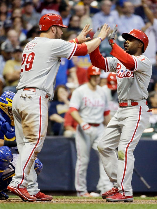 Philadelphia Phillies' Jimmy Rollins is congratulated by teammate Cameron Rupp after hitting a two-run home run during the sixth inning of a baseball game against the Milwaukee Brewers Wednesday, July 9, 2014, in Milwaukee. (AP Photo/Morry Gash)