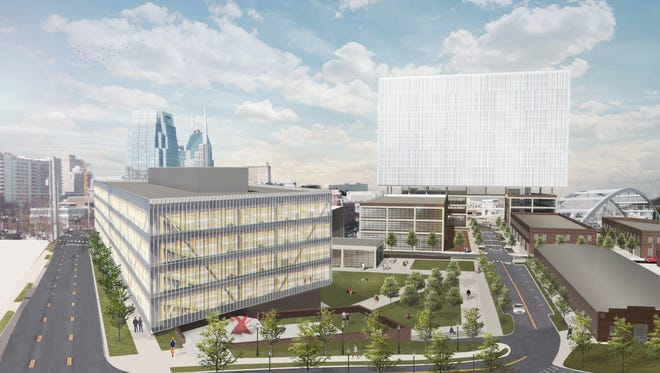 A view of the project Eakin Partners plans for the corner of Hermitage and Peabody on a 2.76-acre parking lot at Rolling Mill Hill.