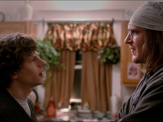 Jesse Eisenberg, left, as David Lipsky, and Jason Segel as David Foster Wallace in 'The End of the Tour.'