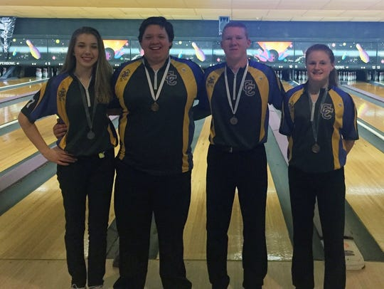 Campbell County bowlers, from left, Kaylee Hitt, Austin
