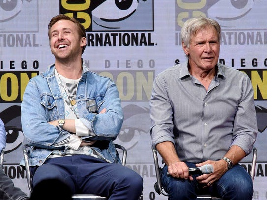 """Ryan Gosling (left) and Harrison Ford attend """"Blade"""