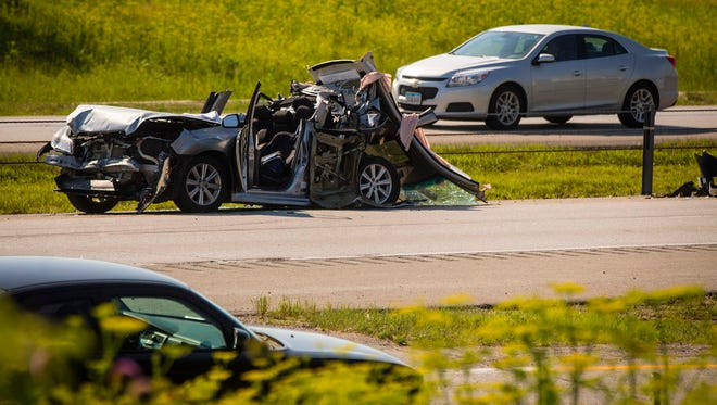 A fatal accident on southbound Interstate 35 near 1st Ave exit in Ankeny blocked southbound traffic Friday June 10, 2016.