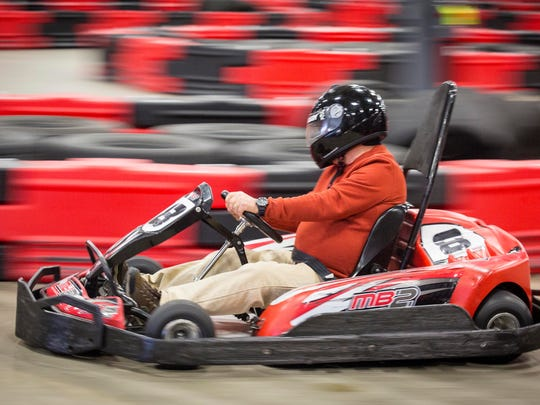 Patrick St. John of Wesley, Iowa, age 17 (actually 68 years but born on leap day) races during the leap year birthday bash at MB2 Raceway with WHO's Van and Bonnie in the Morning show from 5-9AM with free electric go-karting and free birthday cupcakes courtesy of Hy-Vee.