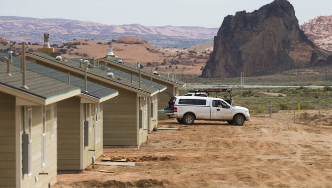 New homes under construction by the Navajo Housing Authority in 2015 in Kayenta, Ariz.