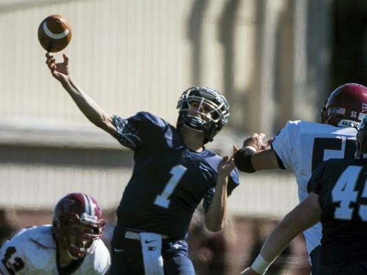 Lebanon Valley College quarterback Tim Pirrone launches the ball downfield during Saturday's 56-14 win over FDU-Florham.