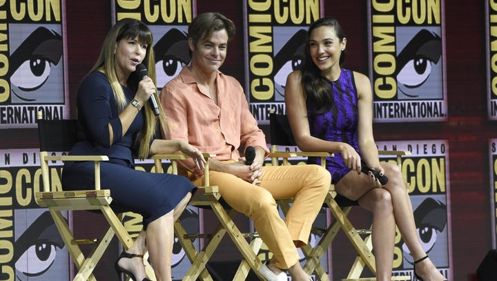Patty Jenkins, from left, Chris Pine and Gal Gadot