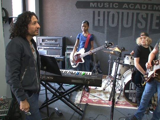 Albee Monterosa speaks with members of the 'Lake House Junior Pros' during practice in Asbury Park Wednesday, April 12, 2017.  They will be participating in the Asbury Park Music in Film Festival.