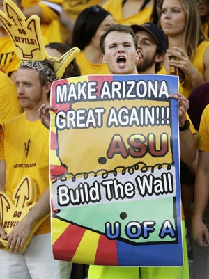 Arizona State fans in the second half on Nov. 25, 2017 during the 91st Annual Territorial Cup in Tempe, Ariz.