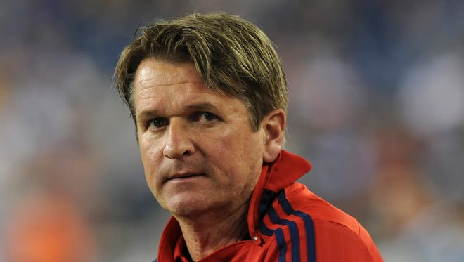 Jun 13, 2015; Foxborough, MA, USA;Current Arizona United coach Frank Yallop looks on during the second half while coaching the Chicago Fire against the New England Revolution at Gillette Stadium in an MLS match.