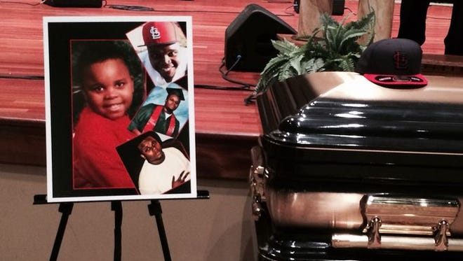 Michael Brown's casket at Friendly Temple Missionary Baptist Church.