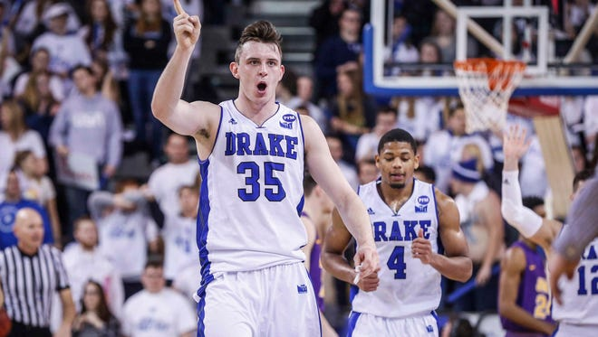 Drake senior Nick McGlynn, shown here celebrating a win over Northern Iowa last season, is the Bulldogs' leading scorer at 16 points per game.