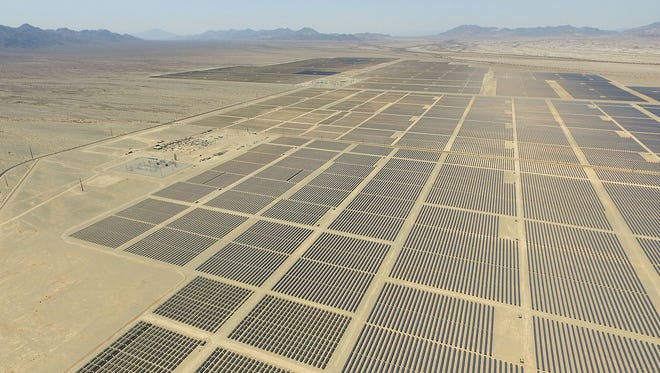 Solar panels soak up the sun at the Blythe and McCoy solar projects in eastern Riverside County on June 22, 2016.