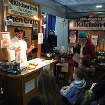 Chef Rick Mussi demonstrates some techniques for waterless cooking before an attentive crowd Saturday at the Hudson Valley Spring Home Show. He was selling Kitchen Craft cookware.