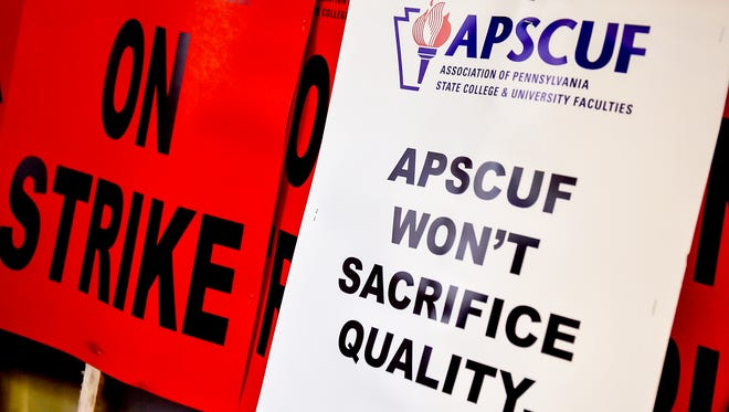 These are some of the signs that will be used if faculty at Shippensburg University go on strike if negotiations between the State System of Higher Education and the Association of Pennsylvania State College and University Faculty continue unsuccessfully.
