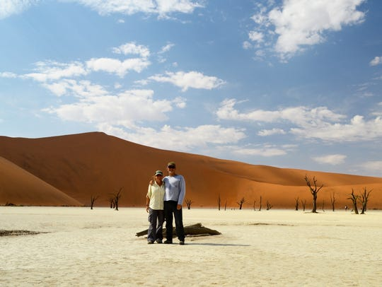 Renie and Luke Lucarini at the sand dunes of Sossusvlei,