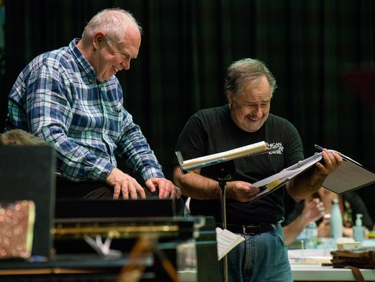 """Conductor Steven Lord and director Michael Albano during rehearsal of """"The Marriage of Figaro."""""""