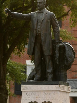 The statue of George Davis at Market and Third Street was removed by the city recently, citing concerns for the public's safety.