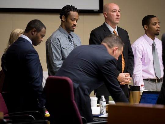 Christopher Bassett, left, Kipling Colbert Jr., second left, and Gregory Williams III, right, during the Zaevion Dobson slaying trial at Knox County Criminal Court on Tuesday, Dec. 5, 2017.