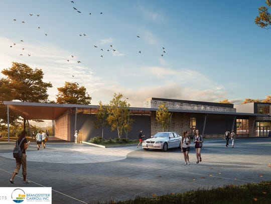 An artist's rendering in 2017 shows what the front of Boone County Public Library's planned new Hebron branch will look like when built in 2018.