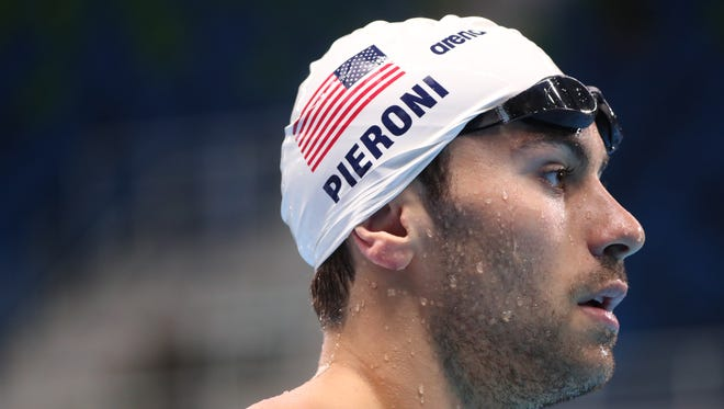 FILE -- U.S. swimmer Blake Pieroni looks on during a practice session at the Olympic Aquatics Centre prior to the start of the Rio 2016 Olympic Games.