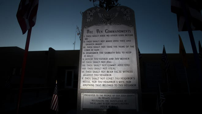 The Ten Commandments Monument in front of City Hall in Bloomfield will be moved this week.