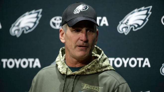 Philadelphia Eagles offensive coordinator Frank Reich speaks with members of the media during a news conference at the team's NFL football training facility in Philadelphia, Tuesday, Dec. 12, 2017. (AP Photo/Matt Rourke)