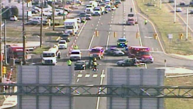 Accident scene on southbound U.S. 13, north of the 13/40 split