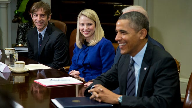 President Obama meets with technology executives in the Roosevelt Room of the White House on Dec. 17. From left: Mark Pincus of Zynga; Marissa Mayer, Yahoo!; and Obama.
