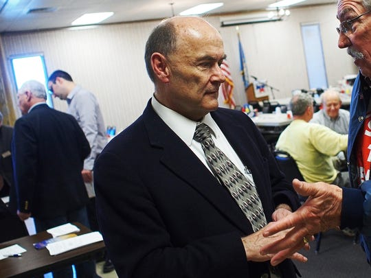 Yankton County Democrat Jay Williams speaks with Cal Plienir, of Renner, after announcing his candidacy for U.S. Senate Friday at the Veterans of Foreign Wars Post 628 in Sioux Falls. Williams will challenge U.S. Sen. John Thune in the November election.