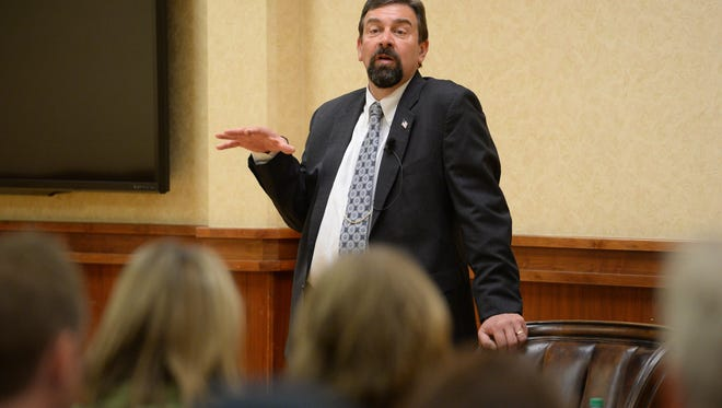 CSU President Tony Frank answers a question at an open forum for administrative staff on Tuesday, February 7, 2016.