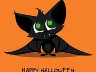 Vector Illustration of a Cute Halloween Bat. Happy Halloween Card with Cartoon Bat.